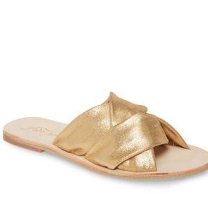 NIB Free People Rio Vista Gold Slide Sandals 40